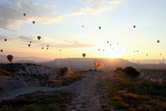 The sunrise in the mountains with a lot of air hot balloons in the sky. Stock Photos