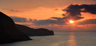 Sunrise in the mountains. Mountain Meganom, Crimea, Ukraine Royalty Free Stock Images