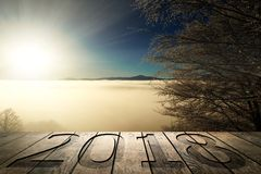 Sunrise in the mountains. New year in the mountains Royalty Free Stock Photo