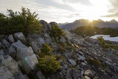 Sunrise in the mountains. Sunrise over the North Cascades Mountain Range in Washington Stock Photo