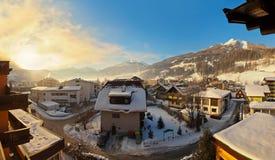 Sunrise in mountains ski resort Bad Hofgastein - Austria Royalty Free Stock Photo