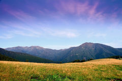 Sunrise in the mountains, summer Carpathian landscape Stock Photography