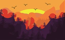 Sunrise in mountains. On a forward slan the wood and birds. A simple vector illustration with bright paints Stock Images