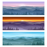 Sunrise at mountains sunset. Vector backgrounds Stock Photo
