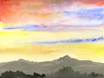 Sunrise on mountains artwork. Hand painted watercolor, red and yellow sunrise in a mountain landscape stock illustration
