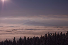 Sunrise in mountains in winter Stock Image