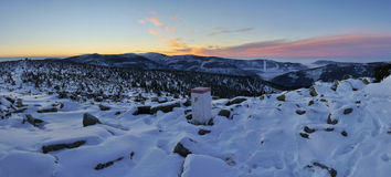 Sunrise in mountains. Sunrise in winter Giant mountains Stock Photography