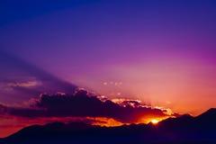 Sunrise from mountan cloud china Stock Photos