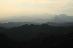 Sunrise in the Mountians of Jinshanling Stock Photo