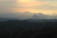 Sunrise in the Mountians of Jinshanling Stock Image