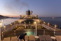 Sunrise on MS Queen Elizabeth in Gibraltar. NnGibraltar is a British Overseas Territory located at the southern tip of the Iberian Peninsula. It has an area of Stock Image
