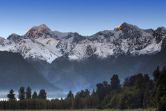 Sunrise on Mt Cook and Mt Tasman, New Zealand Stock Images