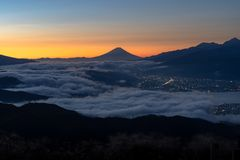 Fuji Sunrise in Japan stock images