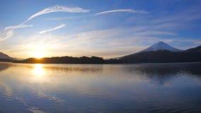 Sunrise and Mt. Fuji from Lake Kawaguchi Japan Wide panorama
