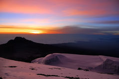 Sunrise at the mt Kilimanjaro, Tanzania. Beautiful view from the slopes of the mt Kilimanjaro on the peak Mawenzi in Tanzania at sunrise, Eastern Africa Stock Images