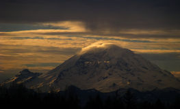 Sunrise on Mt. Rainier v1. Sunrise on Mt. Rainier over the skies of Washington State Royalty Free Stock Photo