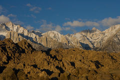 Sunrise on Mt Whitney in the winter stock photos