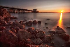 Sunrise at Mumbles pier Royalty Free Stock Photo