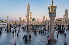 Sunrise Muslims gathered for worship Nabawi Mosque, Medina, Saud Royalty Free Stock Photo