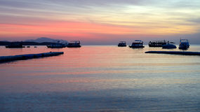 Sunrise at Naama Bay, Red Sea and motor yachts Stock Images