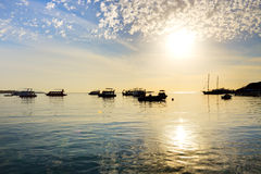 Sunrise at Naama Bay, Red Sea and motor yachts Stock Photo