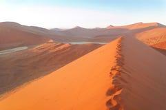 Sunrise in Namib desert dunes Stock Photo