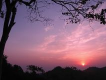 Sunrise in Nan, Thailand. Colorful sunrise in the clear sky morning. Nan, Thailand royalty free stock photo