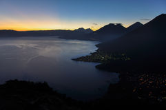 Sunrise from Narriz del Indio over Lago Atitlan, Guatemala Stock Photos