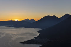 Sunrise from Narriz del Indio over Lago Atitlan, Guatemala Royalty Free Stock Photography