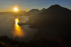 Sunrise from Narriz del Indio over Lago Atitlan, Guatemala Stock Images