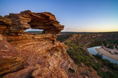 Before sunrise at natures window in kalbarri national park, western australia 9 stock images