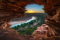 Sunrise at natures window in kalbarri national park, western australia 1 stock photos