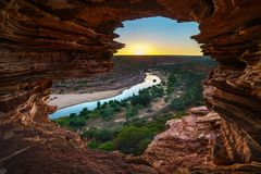 Sunrise at natures window in kalbarri national park, western australia 2 stock image