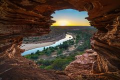 Sunrise at natures window in kalbarri national park, western australia 3 stock photography
