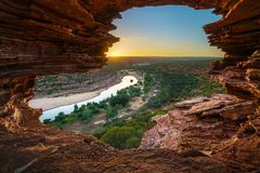 Sunrise at natures window in kalbarri national park, western australia 8 stock photos