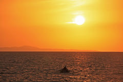 Sunrise near Hvar island, Adriatic sea, Croatia Royalty Free Stock Photos