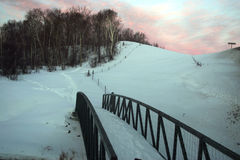 Sunrise near junction creek. Sunrise on snow Royalty Free Stock Photos