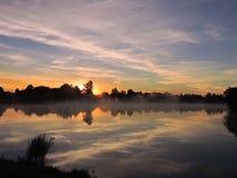 Sunrise near lake, Lithuania Royalty Free Stock Image