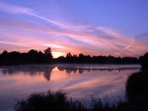 Sunrise near lake, Lithuania Royalty Free Stock Photos