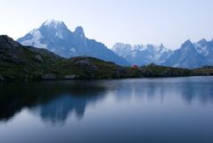 Sunrise near Mont Blanc in Alps Royalty Free Stock Photo