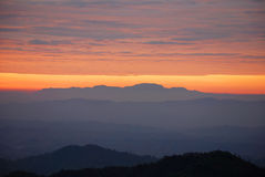 Sunrise. Near mountain at Khunsatan, Nan, Thailand Royalty Free Stock Photo