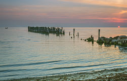 Sunrise near a village of fishermen, Kurzeme, Latvia Stock Images