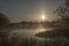 Sunrise in the Nene park Stock Photo