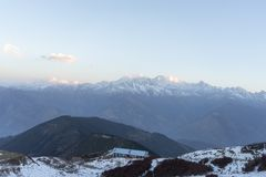 Sunrise in Nepal Himalaya. Early morning in Nepal Himalaya trek adventure Stock Photo