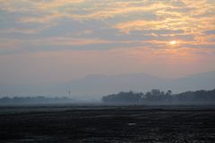 Sunrise next to the field. The mist at the morning on winter of Thailand in the field Stock Photos