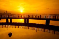 Sunrise with nice bridge, the new Taipei, Taiwan Stock Photo
