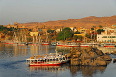 Sunrise on the Nile in Aswan. Beautiful sunrise on Nile in the City of Aswan in Egypt stock photo