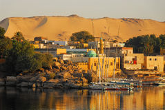 Sunrise on the Nile. Beautiful sunrise on Nile in the City of Aswan in Egypt stock images