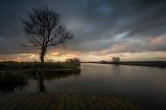 Sunrise on the norfolk broads. UK , Shot taken at Thurne wind pump royalty free stock photography