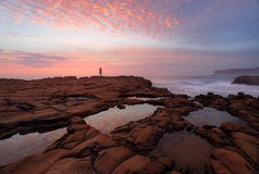 Sunrise North Avoca with rockpool reflections Royalty Free Stock Photography
